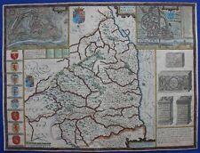NORTHUMBERLAND, NEWCASTLE, BERWICK, original antique atlas map, John Speed, 1676