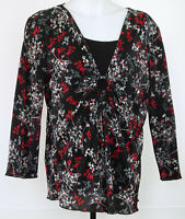 Christopher & Banks Black Floral Accordion Pleat 3/4 Sleeve Layered Shirt L