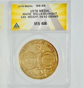 1976 American Revolution Bicentennial Town Wells Ogunquit Maine 14K Gold Medal
