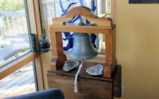 """Ship's Bell - French Warship """"Jemmapes"""" with Yoke, Bell Pull Rope, and Table"""