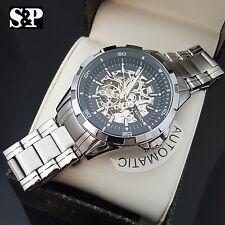 Mens Elgin Luxury Auto Chronograph Skeleton Stainless Steel Dress Watch FG8030S