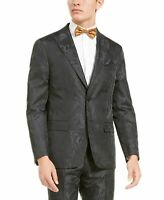 Tallia Mens Blazer Black Size 2XL Charcoal Tonal Animal Print Slim Fit $350 #084