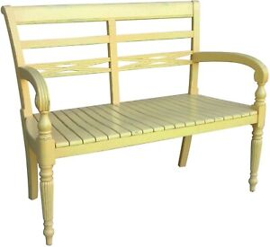 TRADE WINDS RAFFLES BENCH TRADITIONAL ANTIQUE 2-SEAT YELLOW PAINTED MAH