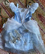 Cinderella Costume High Heel Slippers Tiara Crown Toddee Size 3 Dress 7/8 Shoes