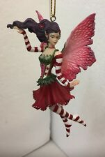 Magenta Poinsettia Floral Fairy Amy Brown Faery Figurine Ornament Collection