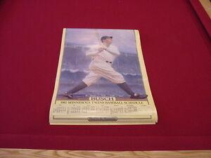 ULTRA RARE Minnesota Twins 1987 Busch Beer Babe Ruth Poster Schedule, MINT!!