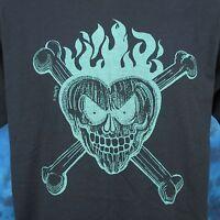 vintage 80s SKULL HEART & CROSSBONES T-Shirt MEDIUM/LARGE rock biker thin 90s