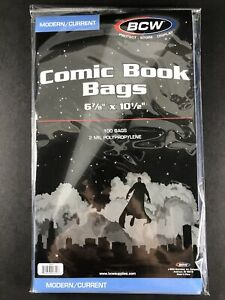 """100 BCW Current Modern 6 7/8"""" Comic Book Storage Poly Bags Sleeves Storage NEW"""
