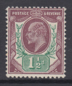 SG 287 1 1/2d Dull Reddish Purple and Green M10 (4) in unmounted mint condition.