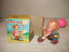 VINTAGE MTU TIN WIND-UP GIRLS TRICYCLE NEW IN BOX KOREA