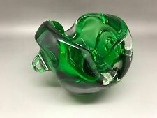 Super Chunky Green Art Glass Bowl - Unknown Maker