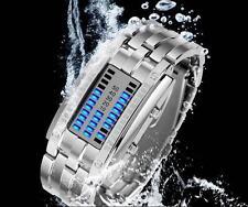 Herren Armbanduhr Sportuhr Stahlband LED Wasserdicht Analog Quarz Xmas Licht HJ