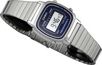 Casio LA-670WA-2D Ladies Blue Watch Silver Stainless Steel Band Digital Classic
