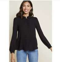 ModCloth Womens Blouse Medium Black Long Sleeve Button Up Peter Pan Collar Top