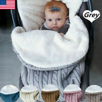 Baby Hooded Swaddle Knit Wrap Blanket Warm Pram Pushchair Stroller Sleeping Bag