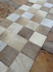Cowhide table runner carpet leather patchwork w hair on