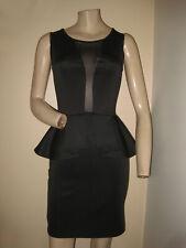 Guess Black Body-Con Mesh Peplum Waist Exposed Zipper Cocktail Party Dress XS/S