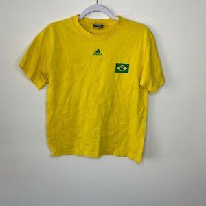 Adidas T-Shirt Youth Size L Yellow Brazil Soccer Futbol #10 Ricardo Kaka