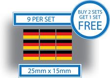 9 x German Flags Small Bike Helmet Car Window Vinyl Stickers Decals Germany 25mm