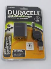 Duracell Dual USB AC Charger With Retractable Sync & Charge Cable 3.1 amp