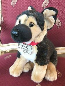"FAO Schwartz German Shepherd 9"" tall plush stuffed animal toy dog 2018"