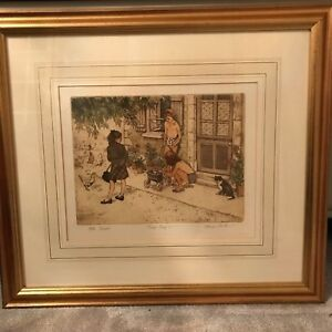 FRANK MARTIN SIGNED TRIAL PROOF ETCHING 'AFTER SCHOOL'
