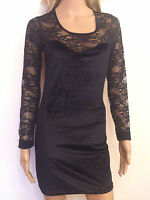 NEW SEXY WOMENS LADIES BLACK FLORAL LACE LONG SLEEVE BODYCON DRESS 10 12 14