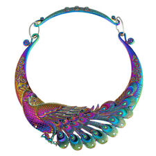 Multi Color Carving Peacock Torques Metal Maxi Ethnic Choker Necklace For Women