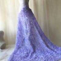 3D Rose Chiffon Evening Dress Lace Fabric Lavender Wedding Costume DIY Trim 0.5Y