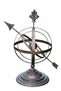 Steel Decorative Armillary Sundial in an Antique Bronze Finish
