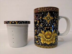 TEA FORTE Versace Inspired STEEPING CUP WITH INFUSER Asian Japanese Vintage