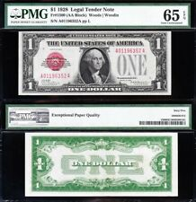 Amazing *SCARCE* GEM UNCIRCULATED 1928 $1 RED SEAL US Note! PMG 65 EPQ! 96352A