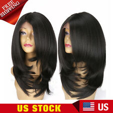 Layered Short Bob Lace Front Wig Yaki Straight Synthetic Full Wigs For Women