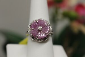 Madagascar Pink Sapphire White Zircon Ring SIZE 8 Plat/Sterling Silver 8.84 ctw