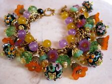 Falling for You Bracelet Lampwork Glass Charms Crystal VTG Miriam Haskell Chain