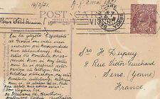 Stamp Australia 1&1/2d brown KGV on postcard Library, Museum Melbourne Victoria