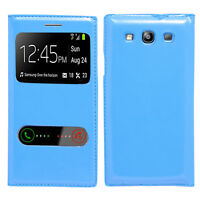 Housse Etui Coque Plastique View Case BLEU Samsung Galaxy S3 i9300 / i9305 Neo