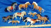 HUGE LOT 9 Flocked Horse Model Toy Saddles Western VTG 80-90s Figures Various