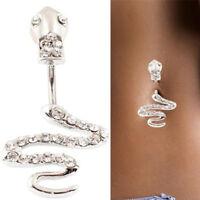 Women Snake Stainless Steel Belly Button Ring Navel Ring Body Piercing Jewel RAC