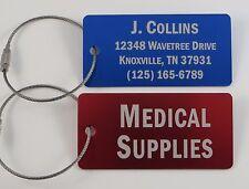 Metal Luggage / Golf Bag Tag with steel loop cable - Free Custom Engraving