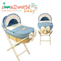 Personalised Boys Blue Applique Car Moses Basket Cover Set (NEXT DAY DISPATCH)