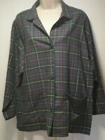 St Michael Green Checked Long Sleeve Cotton - Size 12 (461)