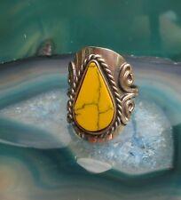 Silver Howlite Yellow Ethno Inka Maya Style 11 ~ Ring Alpaca Nickel