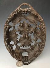Antique Swiss Carved Black Forest Fruit Tray Bowl Basket #1 w/ Grape Vine Motif