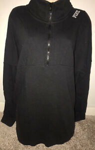 black 1/4 zip sweatshirt Victorias secret PINK size large!