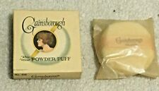 Vintage Gainsborough White Velour Powder Puff Cardboard Box & Puff, Circa 1920's