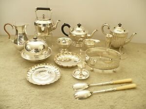 JOB LOT VINTAGE SILVER PLATE WARE - SPIRIT KETTLE - TEA SET - COFFEE POT etc
