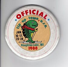 New listing 1988 Tip Up Town Officials Badge Pinback-Michigan Dnr Deer Bear Fishing Patches
