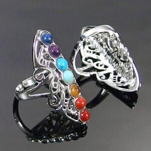 7 Chakra Gemstone Beads Adjustable Rings Crystal Healing Silver Plated