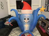 Gemmy Airblown Animated Inflatable Prototype Xmas Octopus w/ Moving Arms - Video